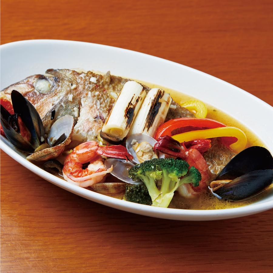 鮮魚とあごだしの和風アクアパッツァ