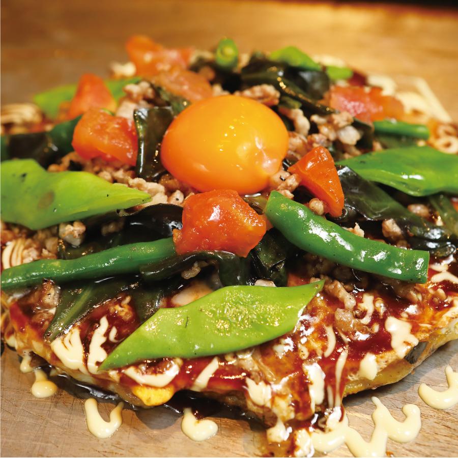 沖縄野菜と豚ミンチを使ったお好み焼